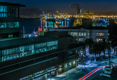 embarcadero west (pbo31) Tags: oakland california eastbay alamedacounty bayarea color nikon d810 september fall boury pbo31 portofoakland harbor sail ship shipping marine crane container jacklondonsquare lightstream motion black dark night over