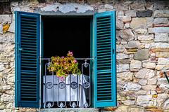 Green Shutters (Neil R Meninick) Tags: chianti radda italy shutters rustic table stonework flowers tuscany window wine winecountry