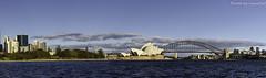 Sydney Harbour Panorama (vscarf10) Tags: canon dslr panorama photostitch sydney harbour bridge opera house blue sky sunrise water australia wide angle 5dmkiii 1635mm zoom