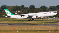 Mahan Air Airbus A340-3 EP-MMD (SjPhotoworld) Tags: germany deutchland dus eddl dusseldorf dusseldorfairport duesseldorf airport rheinland mahanair mahan iran teheran w5 w5100 takeoff airbus a340 airbus340 a340300 green airliner airline big runway spotting planespotting outdoor vehicle airplane aircraft jet jetliner jumbo epmmd aviation avgeek airliners airlines canon challenge passenger passengerjet plane final arrival touchdown