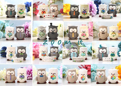 collage unique Owl wedding cake toppers 2 (PassionArte) Tags: owl gufo cake toppers bride groom ivory white tan brown gray grey purple teal green red rainbow names handmade etsy personalized unique cute country rustic funny elegant custom bouquet bridal gift anniversary