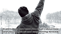 Keep Moving Forward (Goatlips) Tags: rockybalboa 2006 movie film quote caption photo grief bereavement depression hope positivity determination boxing actor script screenplay sylvesterstallone sly punch philly philadelphia pennsylvania museumofart steps stairs snow cold hoodie hoody hat blackandwhite grey gray