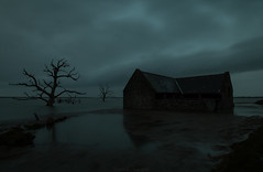 Spooky Flooded Blue-hour Barn (EmPhoto.) Tags: canoneos70d canonefs1022mm bluehour exmoor uk saltmarsh deadtrees skeletontrees ruinedbarn floodtide spooky creepy eerie landscapepassion emmiejgee solace longexposure