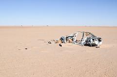 Car wreck in the Mauritanian desert (jbdodane) Tags: africa bicycle car day144 desert mauritania sahara freewheelycom mauritanie cyclotourisme cycling velo cycletouring jbcyclingafrica