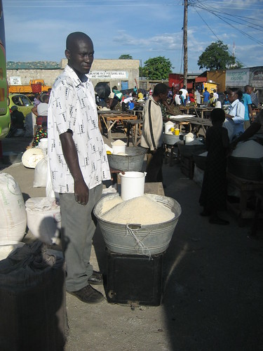 Rice retailer at the town market in Mongu, Zambia. Photo by Kate Longley, 2013.