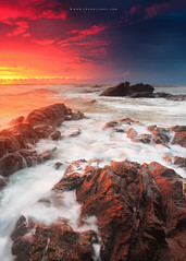 The Promising Light (Fakrul J) Tags: ocean longexposure sky seascape beach clouds sunrise canon eos shore malaysia lowtide uwa rockyshore dungun canonef1740 tanjungjara darylbenson 5dmarkii singhrayreversegrad leefitlers fakruljamil wwwfakruljamilcom proglassnd