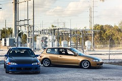 EG x2 (Garrett Wade (v2lab)) Tags: blue honda gold amber orlando power fast spoon cage clean civic fl carbon jdm volk k20 duckbill sparco recaro eg rnr mugen te37 b18c b18c1 k20z1 k20z garrettwade garrettwadephoto
