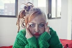 I'm not a dolly (esther kiras) Tags: red selfportrait verde green dreadlocks canon ginger lips redhead jersey labios dolly autorretrato pelirroja pullover segundo rastas rojos 400d