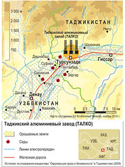 Tajik Aluminium Smelter (TALCO) /    () (Zoi Environment Network) Tags: industry nature ecology metal garden asia factory map railway orchard infrastructure production environment geography tajikistan uzbekistan centralasia irrigation aluminium powersupply smelter  talco smelt     metallurgy  reliefmap     tursunzoda   amudarya                tajikaluminiumsmelter surhandarya