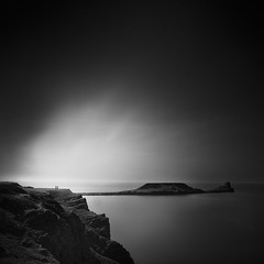 edge of the world (Andrew J Lee) Tags: uk longexposure sea monochrome wales mono blackwhite mood rhossili sqaure thegower blackwhitephotos