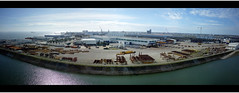The City where boats are made. (Florent V) Tags: city sky panorama skyline port boats harbor view sony ciel shore stx shipyard naval loire ville 44 compact msc chantier saintnazaire atlantique nazaire paquebot loireatlantique preziosa rx100 chantiernaval paquebots