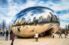 Cloud Gate - Early Spring (Sky Noir) Tags: travel sky usa cloud chicago art public skyline reflections photography illinois gate cityscape chitown il thebean hdr