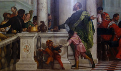 Detail of standing figure left (close),Paolo Veronese, Feast in the House of Levi