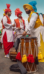 Sikh Dhol drummers taking part in the 2013 Vaisakhi festival parade in Southampton (Anguskirk) Tags: uk england color colour festival hampshire procession sikh gurdwara southampton turbans saris vaisakhi nagarkirtan