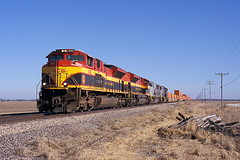 KCS 4050 and 4055 west at Laddonia, MO FEB 2013 (CentralILRailfan) Tags: city railroad plant train grain railway trains mo southern kansas rejected freight westbound schneider csx kcs ethanol intermodal 4050 4055 sd70ace rejections railpicturesnet laddonia railpictures