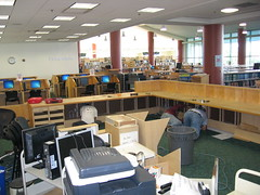 Dismantling the original reference desk (Clearwater Public Library System Photos) Tags: construction desk main demolition magazines informationdesk reference clearwater mainlibrary cpls 2013 clearwaterpubliclibrary clearwaterpubliclibrarysystem clearwatermainlibrary mainlibraryconstruction
