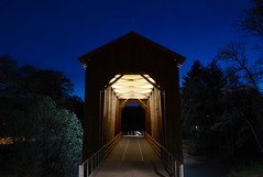 Chambers Covered Bridge at night (OBEC Consulting Engineers) Tags: railroad art oregon trails center coveredbridge chambers coveredbridges lanecounty interpretive cottagegrove