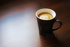 tasty... (Gregoria Gregoriou Crowe) Tags: coffee vertical closeup table outdoors photography day coffeecup nopeople foodanddrink refreshment froth colourimage differentialfocus