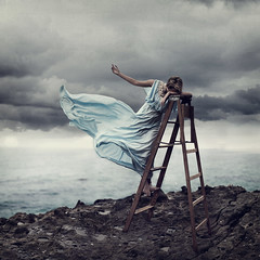 Beckon. (David Talley) Tags: cliff storm david beach photography seaside sad dress wind mary fineart wave windy stormy ladder laguna tidepools talley stormybeach pettygrove davidtalley lesbrumes marypettygrove