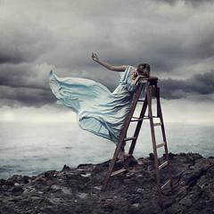 Beckon. (David Talley) Tags: cliff storm david beach photography seaside sad dress wind mary fineart wave windy stormy ladder laguna tidepools talley stormybeach pettygrove davidtalley lesbrumes marypettygrove