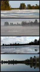 Oops, left out a day.  Four days of retreating ice on Bass Lake (yooperann) Tags: lake ice melting bass michigan small upper peninsula retreating