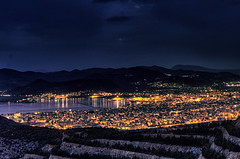 Volos the City of God III (Valadis Kostas Papadopoulos, Volos) Tags: city blue sea mountain black night port dark town cityscape nightscape greece pelion kostas volos papadopoulos pilio valadis magnisia flickrestrellas