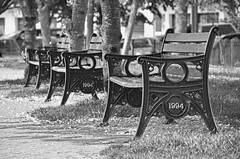 Park benches (Nick Jacobsen (nickjoj)) Tags: park white lake black newquay seats boating benches