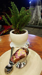 Ice cream supper (Roving I) Tags: icecream desserts sweets jugs silverwear plants trees nightlife cafes danang vertical vietnam