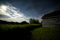 Moonlight Farm No. 1 (Geoffrey Coelho Photography) Tags: lighting old light summer sky building abandoned night clouds barn rural buildings dark landscape outside rainbow soft glow outdoor farm rustic barns scenic fullmoon moonlit moonlight glowing moonbow moonspooky