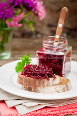 Beetroot Relish Preserves on Rye Toast (dolphy_tv) Tags: autumn winter red summer food brown fall kitchen glass bread table salad juicy purple starter toast spice rustic harvest vegetable rye gourmet delicious homemade relish vegetarian canned jar vinegar chopped onion appetizer organic transparent pickled root beet jam salsa preserve beetroot marinade chutney ripe grated bruschetta salted conserve marinate shreded