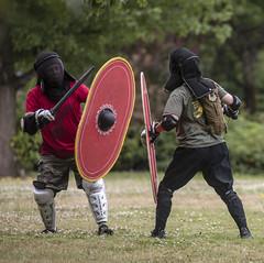 Modern-day Romans II (jadavid) Tags: romans rome swords shields oregon portlandor cathedralpark