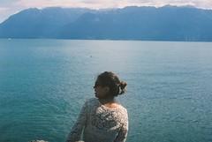 F1000017 (carolinadossantos) Tags: yashicaelectro35 kodakektar100 switzerland lake water girl leman geneva alps mountains