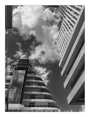 Touching the clouds (AurelioZen) Tags: europe holland rotterdam wilhelminepier cruseterminal aidaprima derottterdam omaremkoolhaas cruiseship verticalism clouds