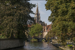 Bruges (David Gilson) Tags: bruges flanders belgium canal trees sky water church birds ducks bridge landscape nikon nikond610 outdoors green buildings architecture