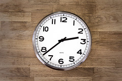 Clock (JakaPH Photography) Tags: clock wood wooden time quartz numbers table white black watch circle contrast round metal