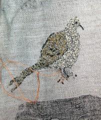 Hattie Barker: Mourning Dove (julieboothclasses) Tags: hattiebarker totellastorywithcloth storycloth handstitching handapplique handpainting handprinting stenciling