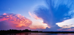 Chaos. (K16mix) Tags: japan izunuma miyagi kurihara tomeshi cloud summer eaafp ramsarconvention lake water sunset beautiful sky moon crescent               nature landscape