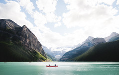 Lake Louise (eric.vanryswyk) Tags: lake louise moraine banff national park alberta canada glacial mountian mountians rocky rockies bow valley river day dusk sunset afternoon serene boat people resort landscape summer august nikon d610 nikkor 20mm f18 forest ice snow glacier