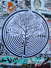 Tree Art, San Francisco, CA (Robby Virus) Tags: sanfrancisco california tree street art paste wheatpaste maze mission district