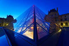 A spaceship? (marko.erman) Tags: louvre palais night perspective architecture light pov wide angle sony travel popular blue red line broken pei architect museum muse glass transparent courtyyard musedulouvre cournapolon pyramid paris france