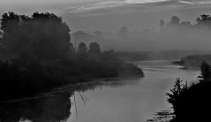 """Modified Photo: """"The mysterious barn by the river"""" (Ken Whytock) Tags: barn river mysterious fog trees scary"""