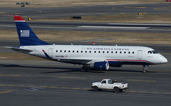 "US Airways Express Embraer 170 N801MA ""Republic Airlines"" (Who says taking out the trash is a bad thing?) (FlyingJ31) Tags: camera tarmac boston plane airplane us photo lawrence airport ramp republic taxi aircraft massachusetts sony garage parking jet picture pic landing edward international photograph jungle airline arrive land express arrival logan airways alpha bos runway airliner 170 jetplane photog usairways embraer rpa arriving jetliner taxiway usairwaysexpress e170 republicairlines kbos ejet n801ma slta57"