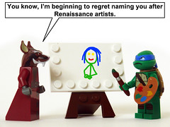 Turtle Artist (Oky - Space Ranger) Tags: painting funny artist lego ninja lisa mona master turtles splinter da mutant leonardo vinci tmnt teenage renaisance