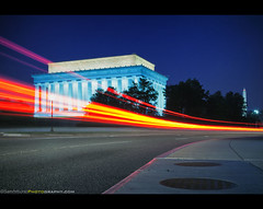 Back to the Future with Lincoln and Washington (Sam Antonio Photography) Tags: longexposure nightphotography blue red sky usa reflection history monument vertical horizontal architecture night outdoors photography washingtondc twilight memorial automobile traffic memories no