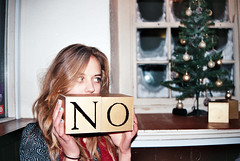 we say no to christmas (FlorenceEloise) Tags: christmas silly colour tree film girl sign 35mm festive grid photography pub pretty squares no small letters banner christmastree blonde blocks block lettering windowpane windo windowpanes antichristmas antifestive