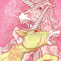 Koresh say 'YES' to unicorns ball bag. (lukedrozd) Tags: horse records art illustration cat penis artwork hand luke tattoos fighting unicorns withered chump vomiting koresh drozd crippledriver