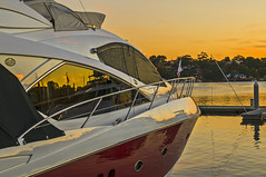 _DSC6402 (amblerpix) Tags: blue sunset marina reflections waterfront yacht jetty sydney australia bluesky newsouthwales launch luxury tranquil sydneyharbour rozelle lateafternoon brightcolours blackwattlebay mooringrope sunsetcolours