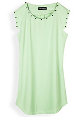 k546 (clothesway.net) Tags: green neck dress short round polyester sleeve