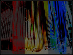 Urban RGB (Tim Noonan) Tags: street cars digital corner photoshop buildings dark perception abstraction rgb mosca slices hypothetical crmedelacrme lavieenrose vividimagination artdigital shockofthenew stickybeak awardtree thecubeexcellencygallery artfortheart davincimemories maxfudgeaw