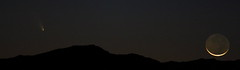 Moon and Comet Setting Panorama fb (Az Skies Photography) Tags: arizona sky rio skyline night canon skyscape eos rebel az rico comet arizonasky 2013 riorico panstarrs rioricoaz t2i arizonaskyline arizonanightsky canoneosrebelt2i eosrebelt2i arizonaskyscape cometpanstarrs